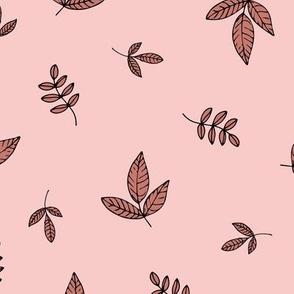 Leaves & petals delicate boho botanical garden pink burnt orange