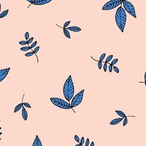 Leaves & petals delicate boho botanical garden apricot blue