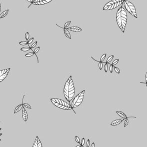 Leaves & petals delicate boho botanical garden grey white