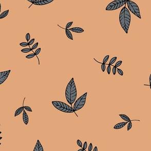 Leaves & petals delicate boho botanical garden cinnamon grey