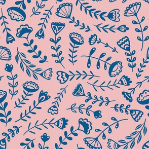 Folk Floral - Medium Scale Blue/Pink