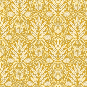 Hawaiian Damask - Yellow Medium Scale