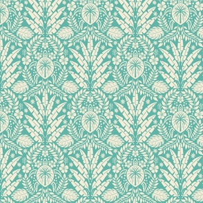 Hawaiian Damask - Blue Medium Scale