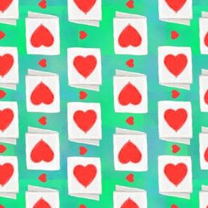 valentines day cards - green tie dye