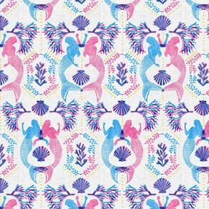 Mermaid Damask Pink Blue