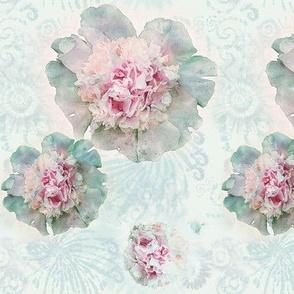Medium Size Watercolor Peonies on Whispery Tie Dye