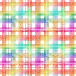 Rainbow Watercolor Tartan Plaid Check