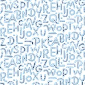 Alphabet Letters Nursery Pattern 2021 Blue