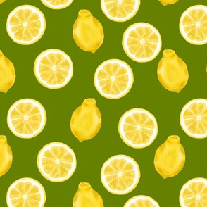 whole lemons and slices - retro green