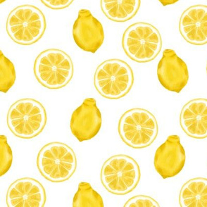 whole lemons and slices - white