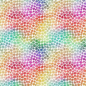 Rainbow Bright Pastel Mosaic Watercolor Spots