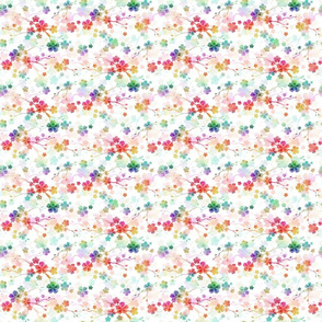 Rainbow Bright Pastel Watercolor Flowers and Vines