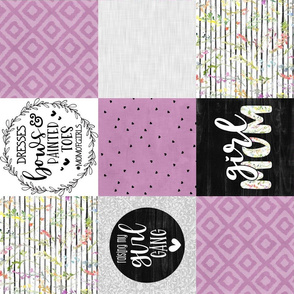 Girl Mom//Purple - Wholecloth Cheater Quilt - Rotated