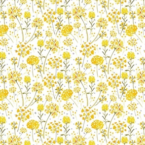 yellow watercolor wildflowers