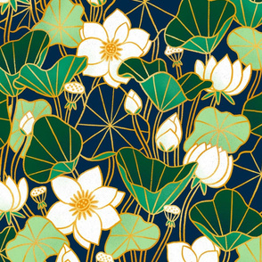 Lily pond giant scale floral bohemian pattern