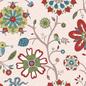 Indian floral rosettes with birds on pink