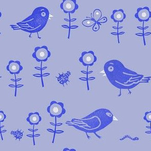 Funny birds, insects and flowers blue