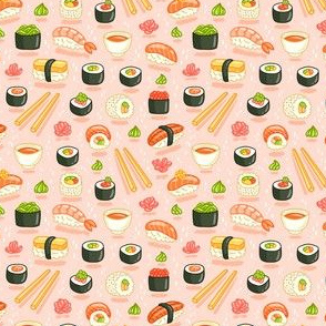 Sushi and rolls, yummy cartoon print, micro scale