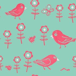 Funny birds, insects and flowers green and pink