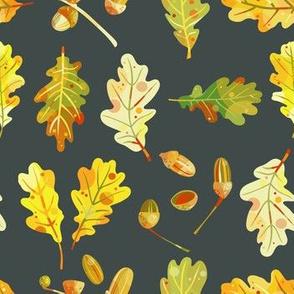 Oak Leaves and Acorns Dark Small