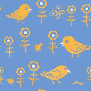 Funny birds, insects and flowers blue yellow