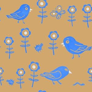Funny birds, insects and flowers brown and blue