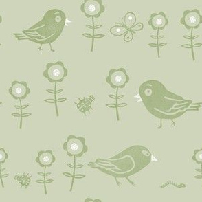 Funny birds, insects and flowers olive green