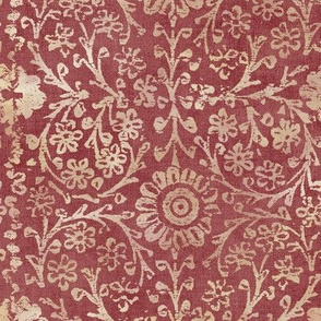 Indian Woodblock in Gold and Rich, Faded Red (xl scale)   Vintage gold print on faded red velvet, linen texture, rustic block print, hand printed pattern in red and gold.