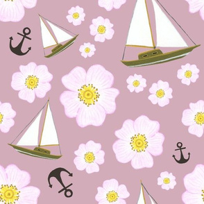 Boats and roses mauve