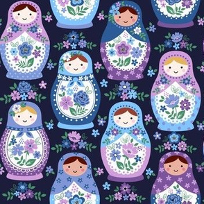 Blue nesting dolls on navy small scale