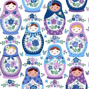 Blue nesting dolls small scale