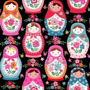 Floral nesting dolls on black small scale
