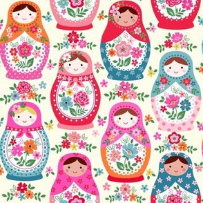 Floral nesting dolls on cream small scale