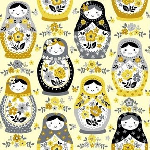 Yellow Nesting Dolls small scale