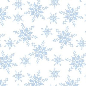 blue snowflakes - white