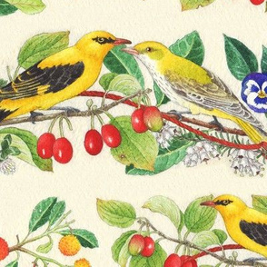 birds and berries gold