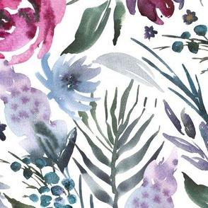Bordeaux & Plum Watercolor Floral - Large