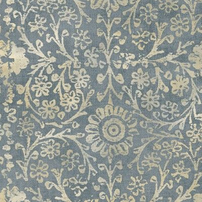 Indian Woodblock in Gold and Dove Gray (xl scale)   Vintage gold print on faded gray-blue linen texture, rustic block print, hand printed pattern in soft gray and gold.