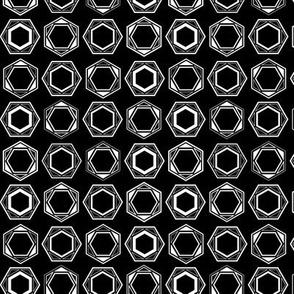 Striped Hexagon Bolt Hardware Tools Geometric Black White