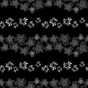 Hawaiian Vacation Floral Mandala Abstract Triangles Striped Black