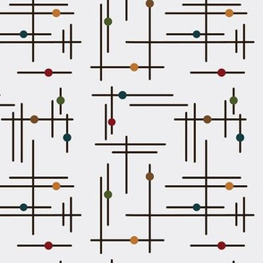 Mid Century Modern Geometric Layered Lines Colorful Dots