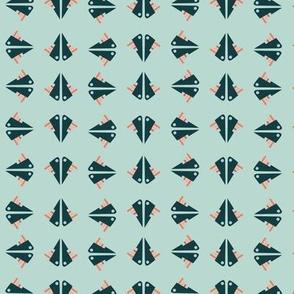Soft Blue Sea Geometric Colorful Blue-green Fish-like Creatures