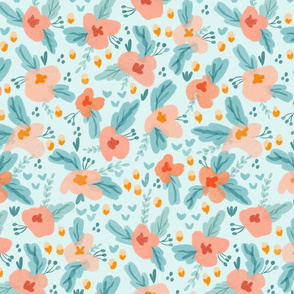 Watercolor Floral in Aqua and Peach Large Scale
