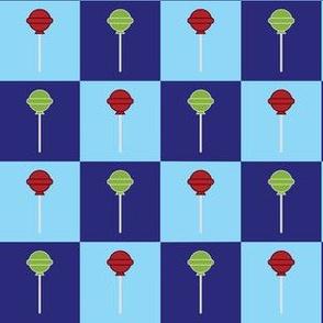 Blue Checkerboard Sweet Sour Lime Wild Chery Lollipops