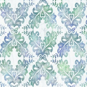 Medium Watercolor Damask in Blue and Green