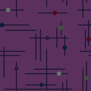 Purple Mid Century Modern Lines and Dots