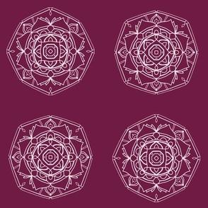 Purple Floral Hand-Drawn Medallion Mandalas
