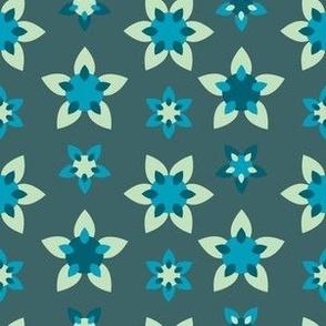 Neutral Blue Flower Star Mandalas