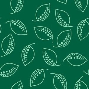 hand drawn abstract green leaf shapes
