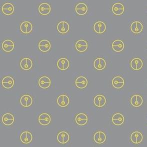 Modern Trendy Ultimate Gray and Illuminating Yellow Symbol Polka Dots